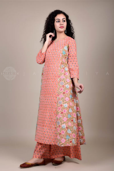 Black Paisley Kalamkari Front Slit Kurta and Skirt Set