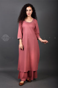 Rose Mirror Work Mul Kurta Palazzo Set - Jaipuriya