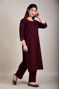 Wine Mirror Work Kurta Pant Suit