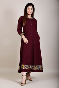 Wine Kalamkari Long Dress