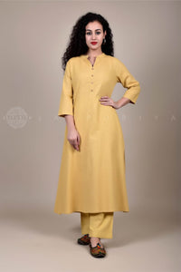 Basic Beige Collar Kurta