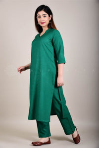 Basic Bottle Green V-Neck Kurta