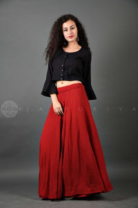 Black Mirror Work Crop Top - Jaipuriya