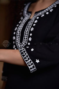 Black Hand Embroidered Yoke Kurta