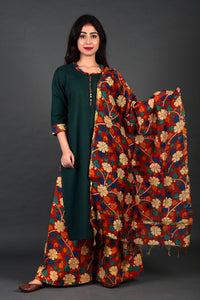 Green Cuff Kurta Kalamkari Palazzo Set with Dupatta