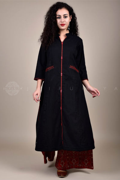 Deep Wine Kutch Hand Embroidery Kurta