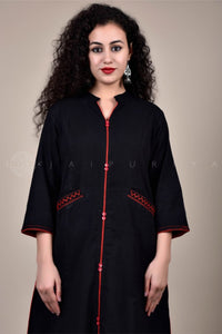 Black Herringbone Kurta and Ajrakh Palazzo Set