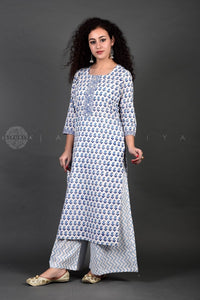 Bagru White Paisley Palazzo Suit