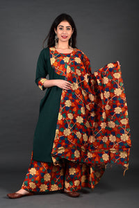 Green Side Yoke Kurta Kalamkari Palazzo Set with Dupatta