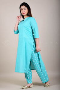 Teal Striped Kurta and Bottoms Set