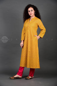 Yellow Booti Collar  Kurta