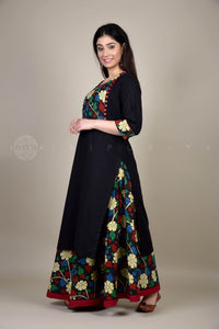 Blue Black Kalamkari Side Yoke Kurta