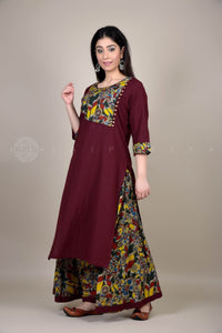 Wine Kalamkari Side Yoke Kurta Skirt Set