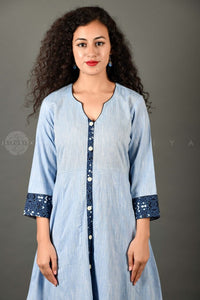 Dusty Blue Long Kurta