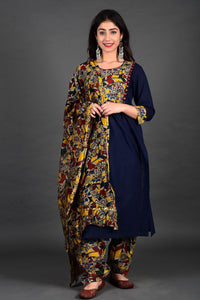 Navy Kalamkari Side Yoke Salwar Suit with Dupatta