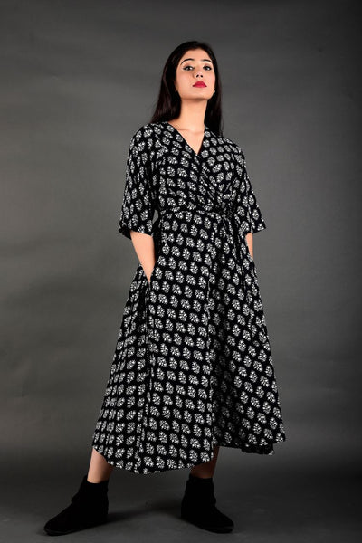 Black Striped Cuff Kurta Palazzo Suit