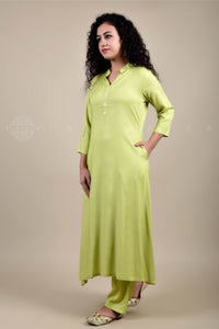 Pista Green Rayon Collar Kurta and Pant Suit