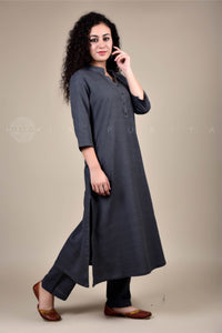 Basic Charcoal Collar Kurta