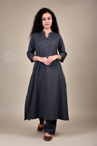 Grey Collar Kurta