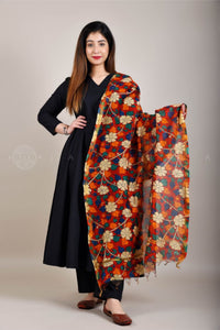 Red Orange Kalamkari Floral Dupatta