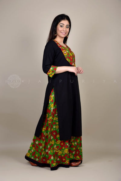 Black Self Yoke Kurta