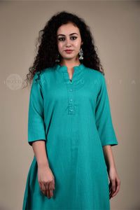 Basic Teal Collar Kurta