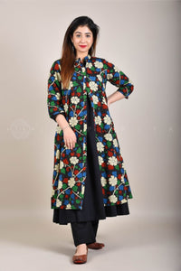Black Angarkha with Blue Black Kalamkari Jacket Set
