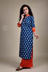Indigo Orange Leheriya Cuff Kurta and Leheriya Palazzo Set