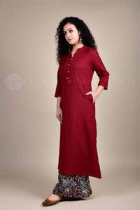 Maroon Collar Kurta and Damask Print Palazzo Set