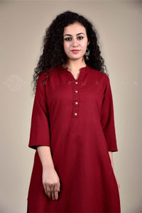 Basic Maroon Collar Kurta