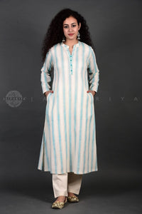 Firozi Ivory Striped Collar Kurta
