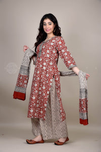 Bagru Red Floral Palazzo Suit with Dupatta