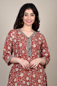 Bagru Red Floral Suit