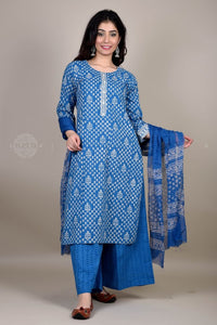 Bagru Blue Jaal Suit