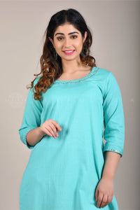 Firozi Mirror Work Kurta Pant Suit