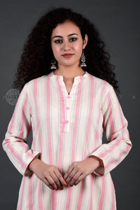 Pink Ivory Striped Collar Kurta