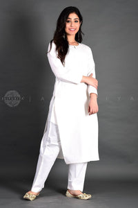 White Full Sleeves Kurta Pant Suit