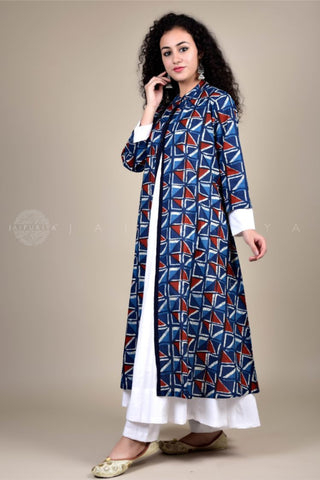 Midnight Blue Front Slit Kurta and Skirt Set