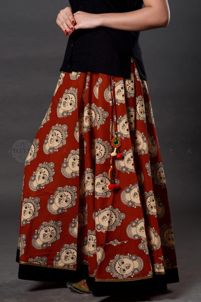 Red Devi Kalamkari Skirt