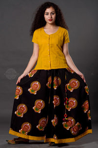 Black Yellow Mukut Kalamkari Skirt - Jaipuriya