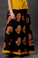 Black Yellow Mukut Kalamkari Skirt