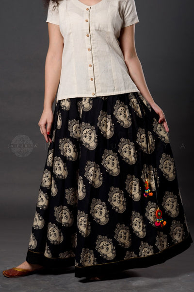 Black Devi Kalamkari Skirt