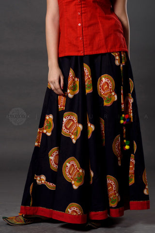 Black Red Mukut Kalamkari Skirt