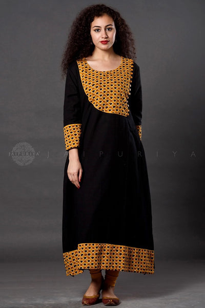 Black Yellow Scale Print  Kurta