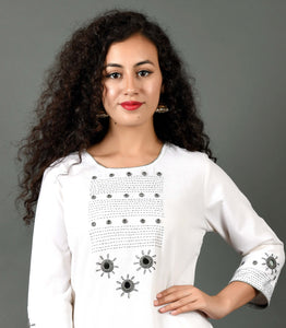 Hand Embroidered Kurta FABRIC- Grey Sitara on White
