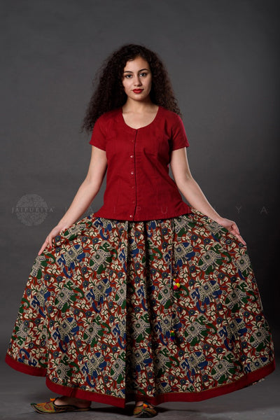 Maroon Elephant Kalamkari Skirt and Top Set