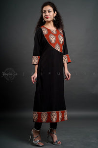 Black Red Devi Side Yoke Kurta