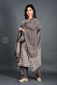 Grey Floral Kashish Kurta Salwar Set with Dupatta