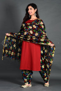 Basic Maroon Floral Kalamkari Salwar Set with Dupatta