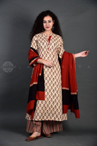 Ivory Madder Collar Kurta Palazzo Set with Dupatta